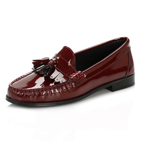 tower womens burgundy patent leather tassel loafers casual