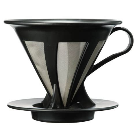 Hario V60 Permanent Cafeor Dripper Black 02 Cfod 02b Size 2 Cups hario cafeor dripper 2 cup 2 colours alternative brewing
