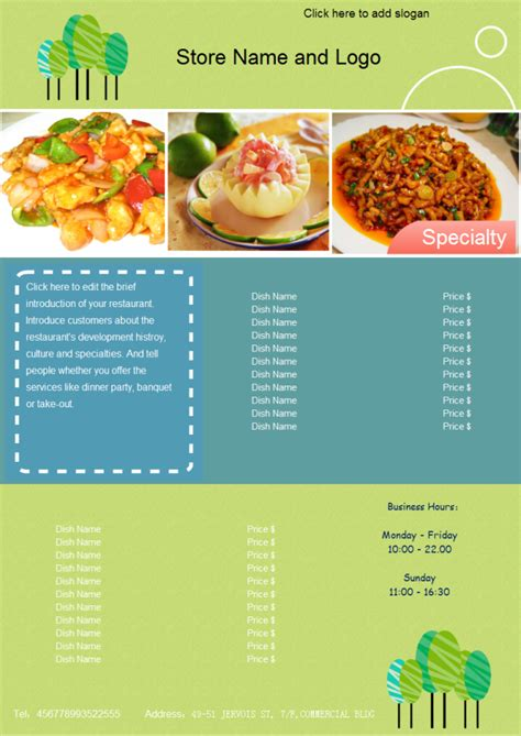food menu template food menu free food menu templates
