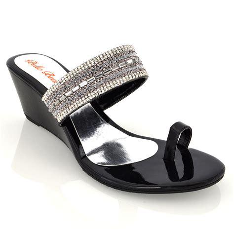 Sandal Wanita Wedges Jnr Black Silver wedge heel toe post diamante silver black womens sandals shoes size ebay