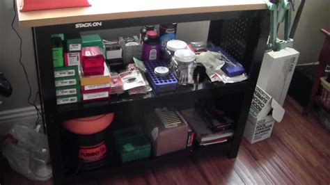stack on reloading bench apartment reloading setup youtube
