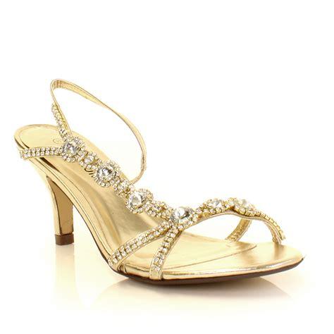 gold low heel sandals womens low mid gold silver diamante kitten heel