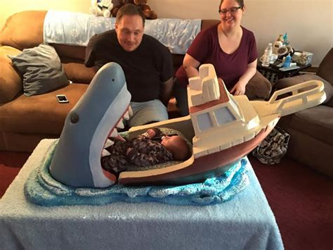 baby shark jaws uncle makes jaws inspired crib for his 2 month old nephew