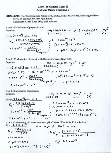 Acids And Bases Worksheet 1 Answers by All Worksheets 187 Acids And Bases Worksheets With Answers