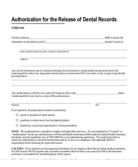 request letter for dental records records release form exle of records release