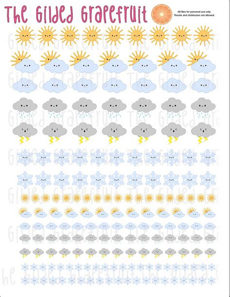 free printable kawaii planner stickers printable kawaii weather planner stickers by