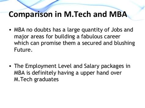 Packages After Mba by M Tech Or Mba Which One To Opt For