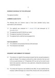Plaintiff Opening Statement Outline by Exle Of A Closing Statement Document Labour South Africa