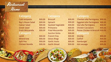 templates for restaurant menus best photos of mexican restaurant menu template blank