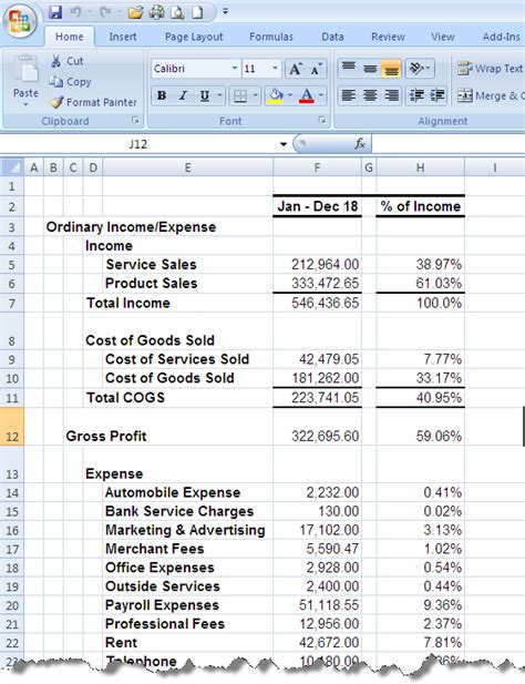 Excel P L Template by Managing By The Quickbooks Numbers Quickbooks