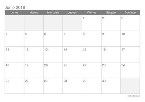 I Calendar 2018 Calendario Junio 2018 Para Imprimir Icalendario Net