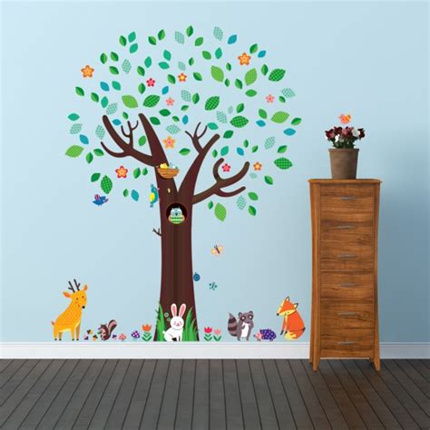large tree wall stickers uk large tree and animal friends wall stickers