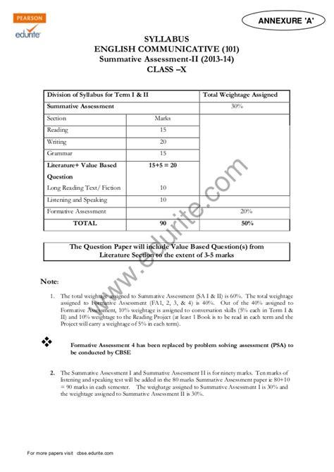 email format cbse class x class 10 cbse english commuicative sle paper term 2 2014