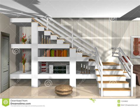full house couch stylish staircase in modern home stock illustration