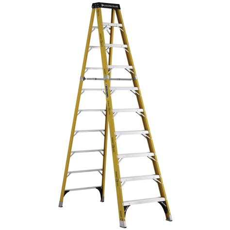 Home Depot 10 Foot Ladder by Werner 10 Ft Fiberglass Step Ladder With 300 Lb Load Home