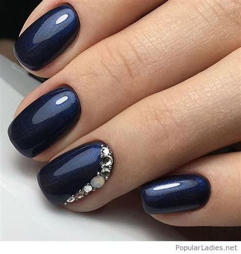 navy gel nails  glitter