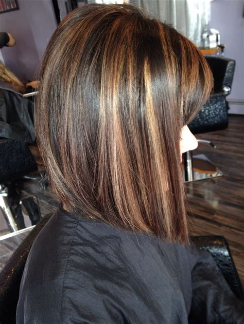 Chocolate Hair Color With Highlights For Angled Bobs | angled bob rich brown base with caramel highlights short
