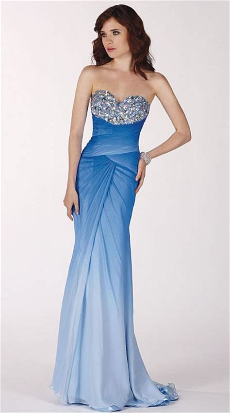 Claudine for Alyce Sapphire Ice Blue Ombre Prom Dress 2134   French Novelty