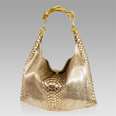 Shopping Gold Python Blackberry Purse by Silvano Biagini Slouchy Handbag Python Leather