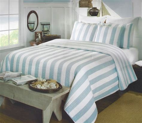 coastal quilts and coverlets aqua cabana stripe quilt set coastal bedding tropical