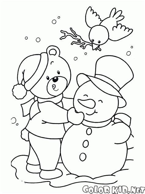 dibujos de navidad para colorear muñecos de nieve dibujo para colorear mu 241 eco de nieve en un columpio