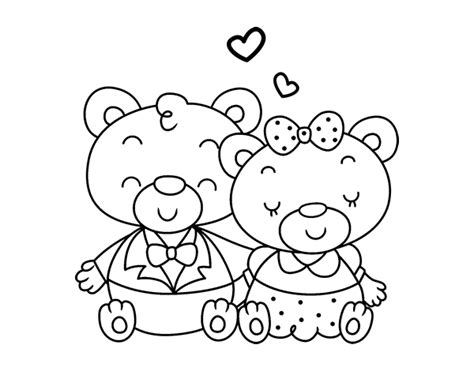 imagenes para colorear ositos dibujo de ositos enamorados para colorear dibujos net