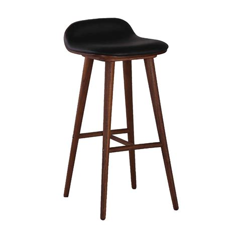 Bar Stools by Interiors Capa Leather Bar Stool Walnut Black