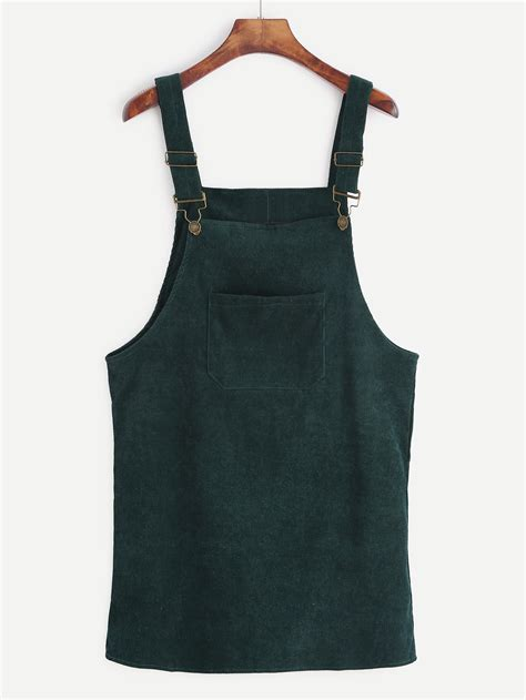 Overall Dress Diskon green corduroy overall dress with pocketfor romwe