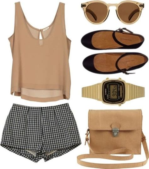 pattern heels polyvore plain brown tank with pattern shorts and neautral