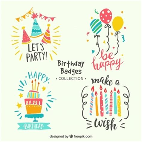 happy birthday design in illustrator birthday stickers vector free download
