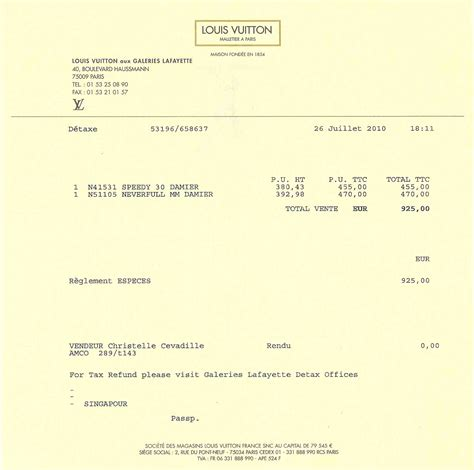 Louis Vuitton Receipt Louis Vuitton Receipt Template Free