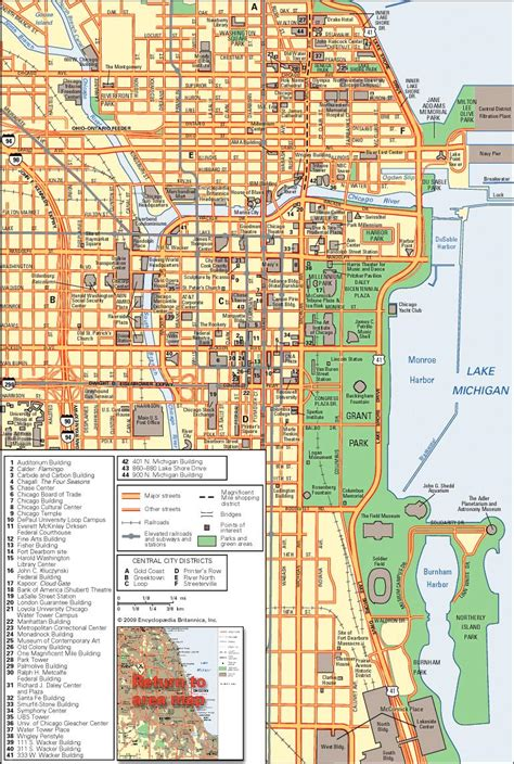 map usa states chicago downtown chicago map chicago map downtown united states