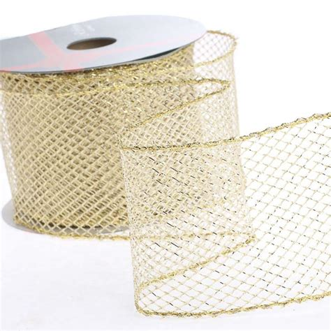 silver mesh christmas ribbon gold mesh wired ribbon ribbon and trims craft supplies