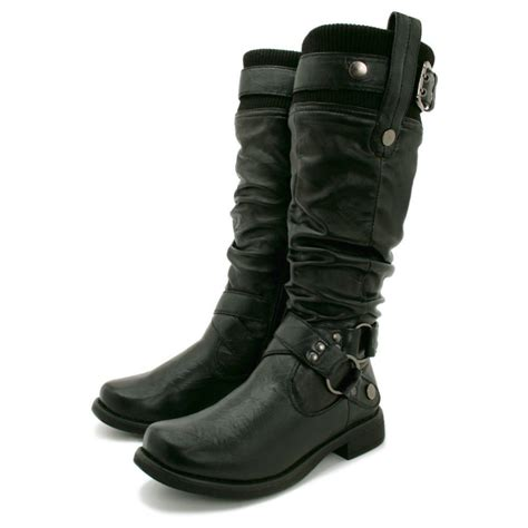 womens black biker buckle wide calf flat knee high boots