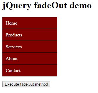 jquery div jquery fadein fadeout fadetoggle 8 demos of table menu