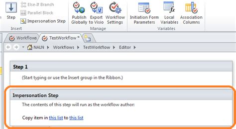 sharepoint 2010 workflow impersonation step impersonation step in sharepoint 2010 designer workflow