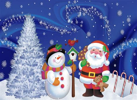 pictures of crismas tree and centaclaus santa claus snowman tree snowflakes postcard wallpaper other wallpaper better