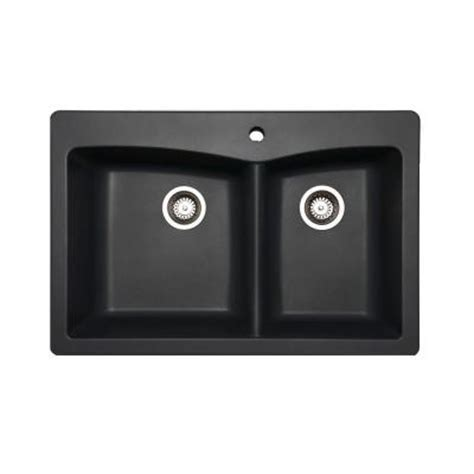 Slate Kitchen Sink Glacier Bay Saratoga Dual Mount Composite 33 In 1 Bowl Kitchen Sink In Slate 441437