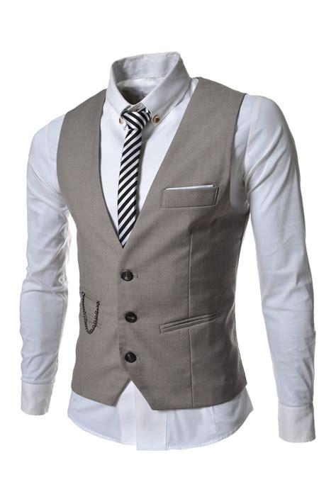 cadena de ropa hombre beige de la cadena de 3 botones de vestir chalecos para