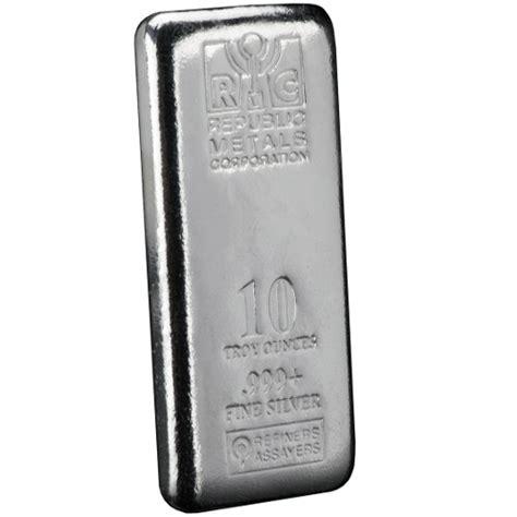 10 Oz Silver Bar - buy 10 oz republic metals cast silver bars silver