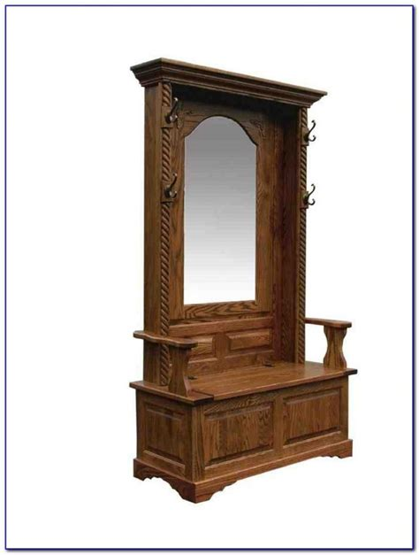 antique hall tree with storage bench entryway hall tree with mirror coat hooks and storage