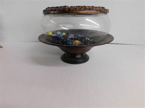 Desk Fish Bowl by Desk Fish Bowl 3 Pieces With Colored Glass Rocks