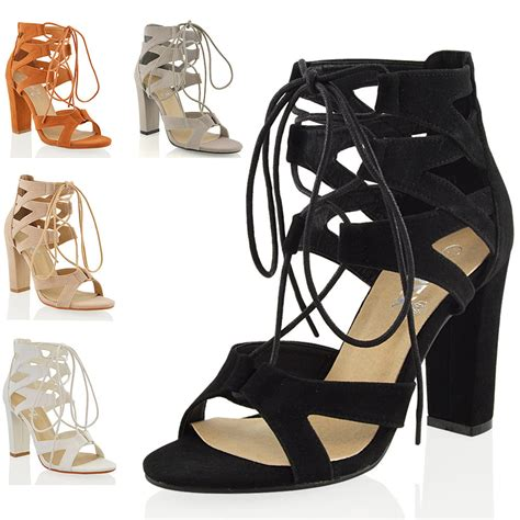 lace up sandal heels new womens lace up block mid high heel chunky cut