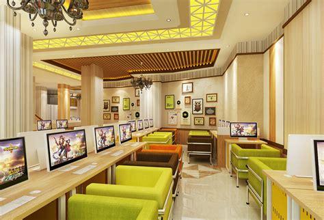 Internet cafe computer table and seat design Interior Design