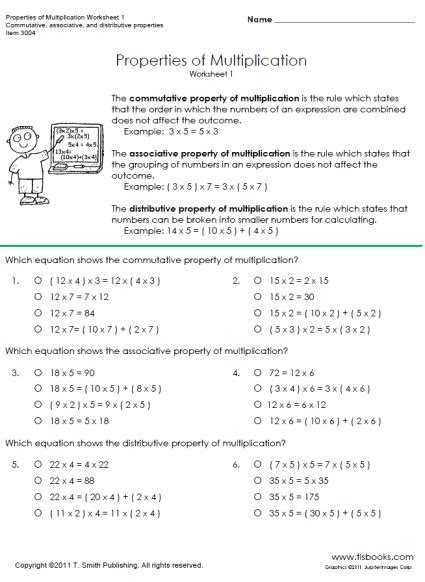 Multiplication Properties Worksheet by Properties Of Multiplication