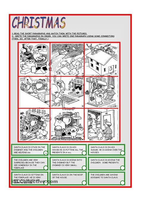 printable christmas reading games match short paragraph to picture auditory processing