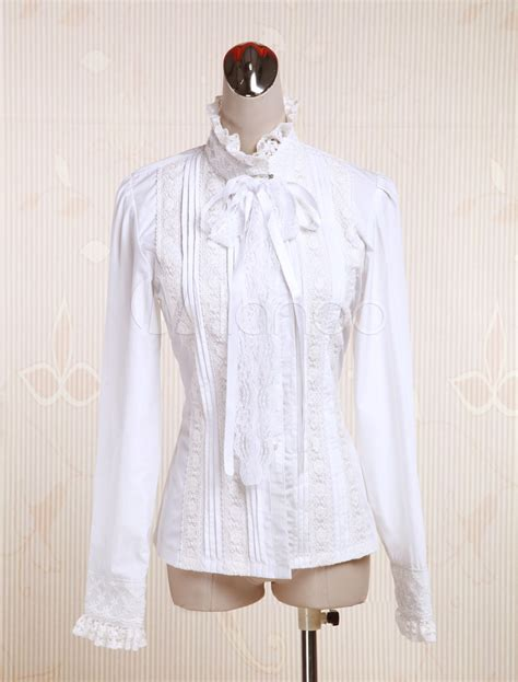 30779 White Cotton Blouse white cotton blouse sleeves stand collar lace trim lace up milanoo