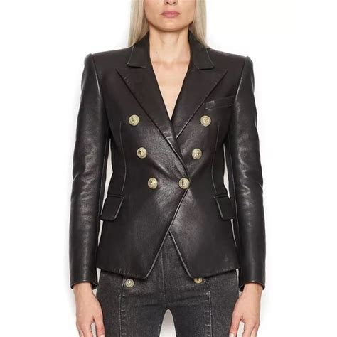 Outer Blazer blazer jacket s metal buttons faux leather