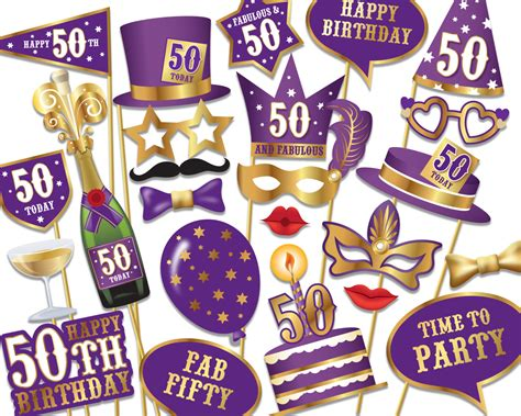free printable photo booth props 50th birthday 50th birthday photo booth props instant download printable
