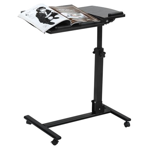 Computer Cart Desk Laptop Computer Desk Cart Side Table Pad Mobile Rolling Wheels Stand Workstation Ebay